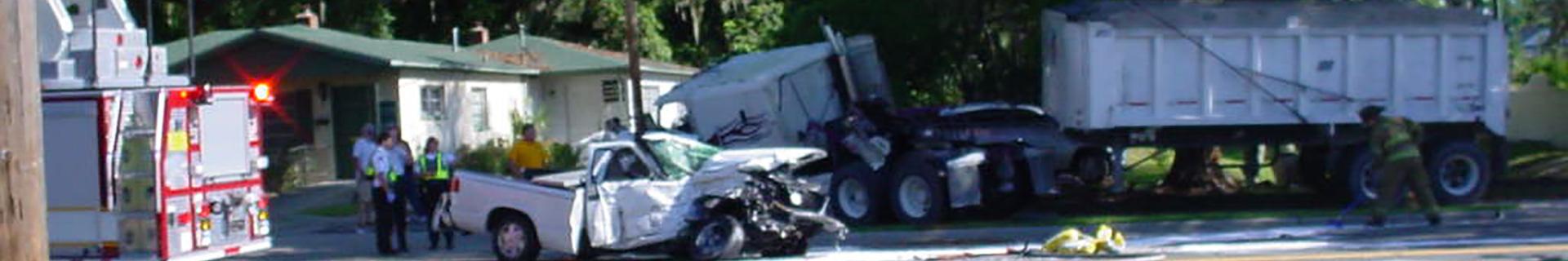 truck and tractor trailer crash site